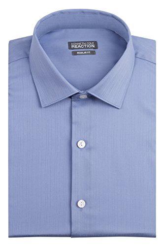 Kenneth Cole Men's Regular Fit Textured Solid Spread Collar Dress Shirt