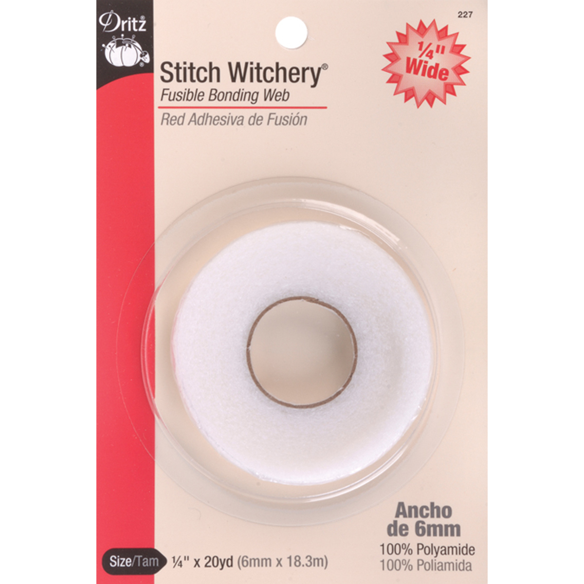 "Dritz Stitch Witchery Fusible Bonding Web Narrow-.25""X20yd"