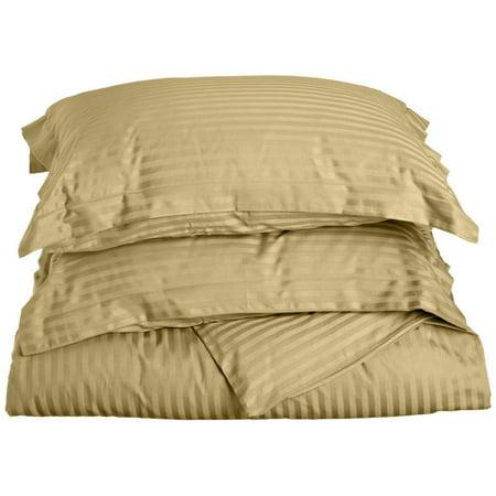 The Great American Store 1800 Series Microfiber 1 Piece Duvet Cover Stripe (Full/Queen, Beige) - Wrinkle, Fade, Stain Resistant & Hypoallergenic (Micro Bridge)