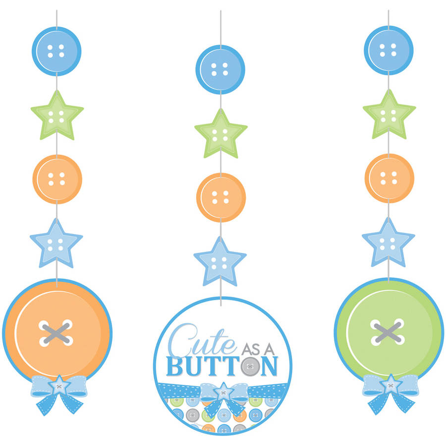 Cute as a Button Boy Hanging Cutouts, 3-Pack