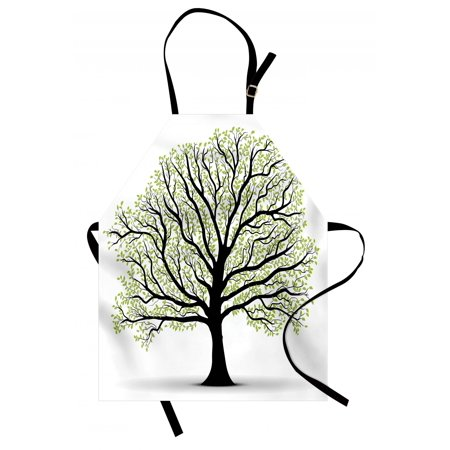 Tree of Life Apron Big Old Lush Tree with Lot of Leaves and Branches Nature Growth Eco Art, Unisex Kitchen Bib Apron with Adjustable Neck for Cooking Baking Gardening, Black White Green, by Ambesonne