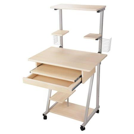 Mobile Computer Desk Tower Printer Shelf Laptop Rolling Study Table
