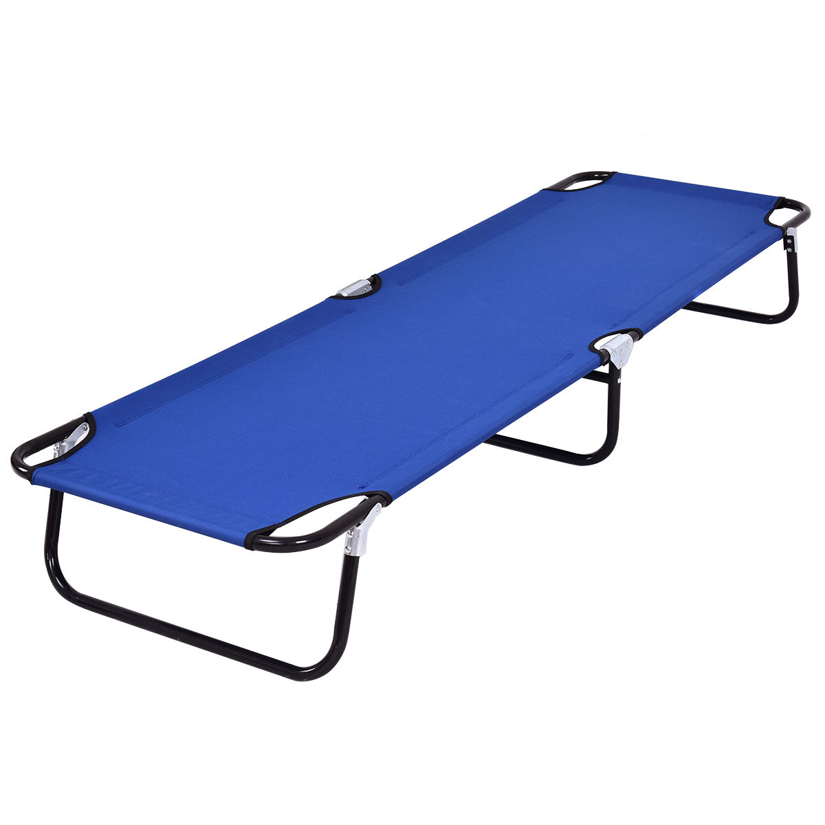 Costway Blue Folding Camping Bed Outdoor Portable Military Cot Sleeping Hiking Travel by Costway
