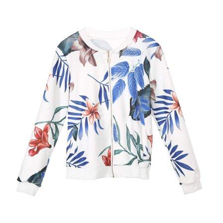 Casual Fashion Women Ladies Retro Floral Printed Zipper up Bomber Jacket Coat (Jordan Retro 3 Jacket)