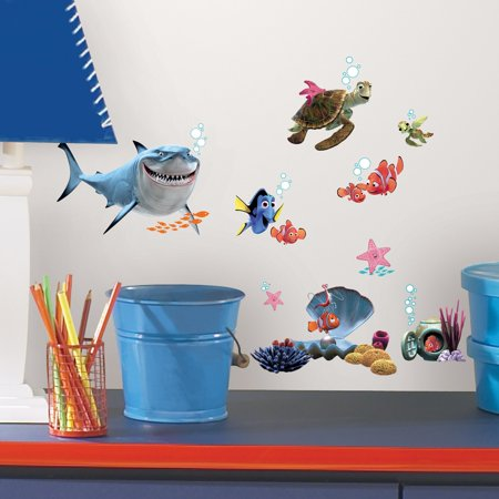 Finding Nemo Peel & Stick Wall Decals Bring home some under-the-sea fun with this colorful set of Finding Nemo Peel & Stick Wall Decals. This Finding Nemo set includes your little ones favorite fishy characters in a multi-colored display. Each sticker can easily be repositioned multiple times without leaving any sticky residue.