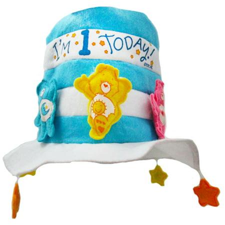 First Birthday Hat (Care Bears Boy's 1st Birthday Blue Felt Hat)