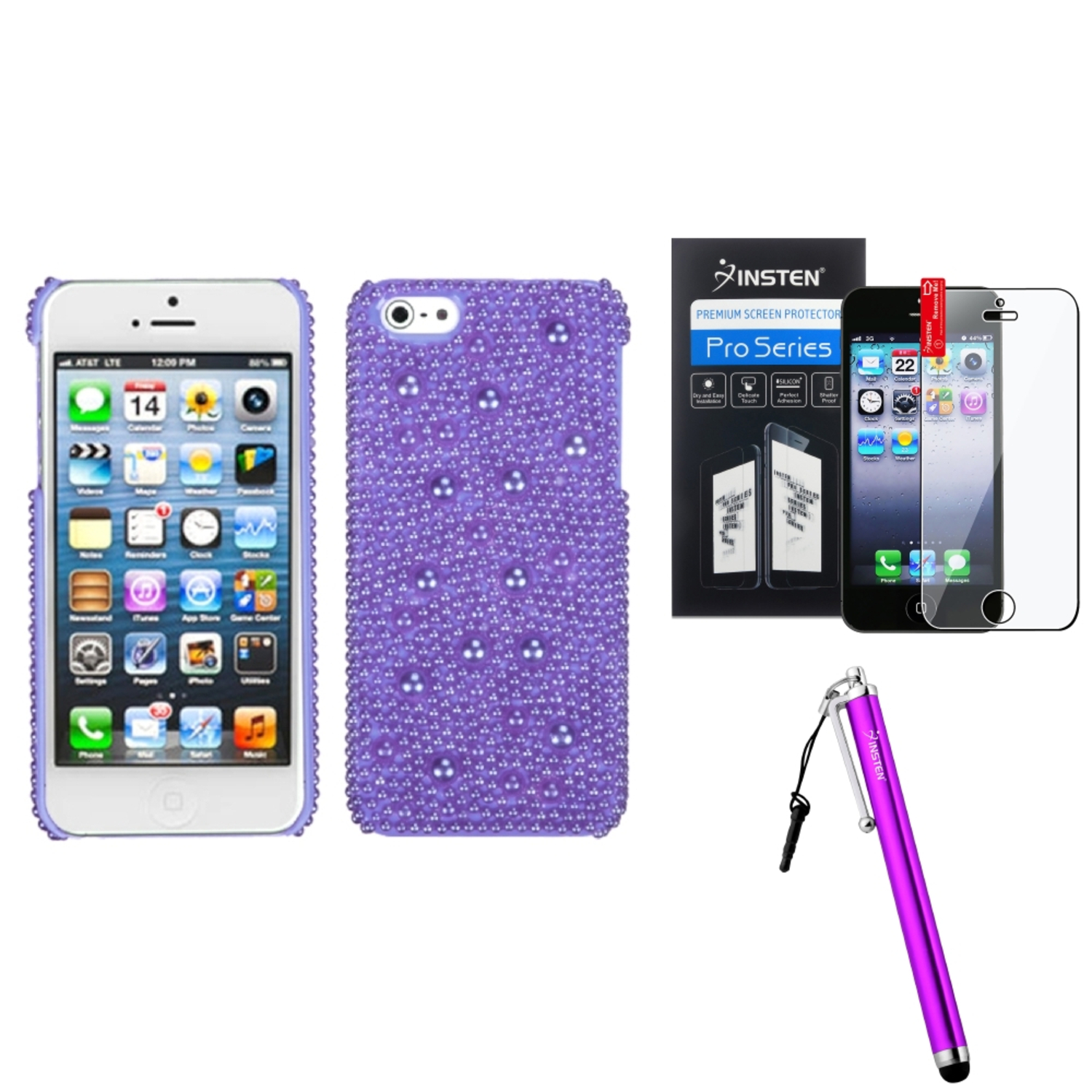 Insten Baby Purple Pearl Diamante Back Case For iPhone SE 5S 5 + Stylus + Protector
