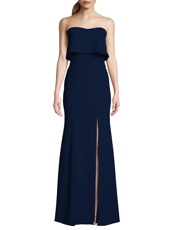Strapless Crepe Floor-Length Dress