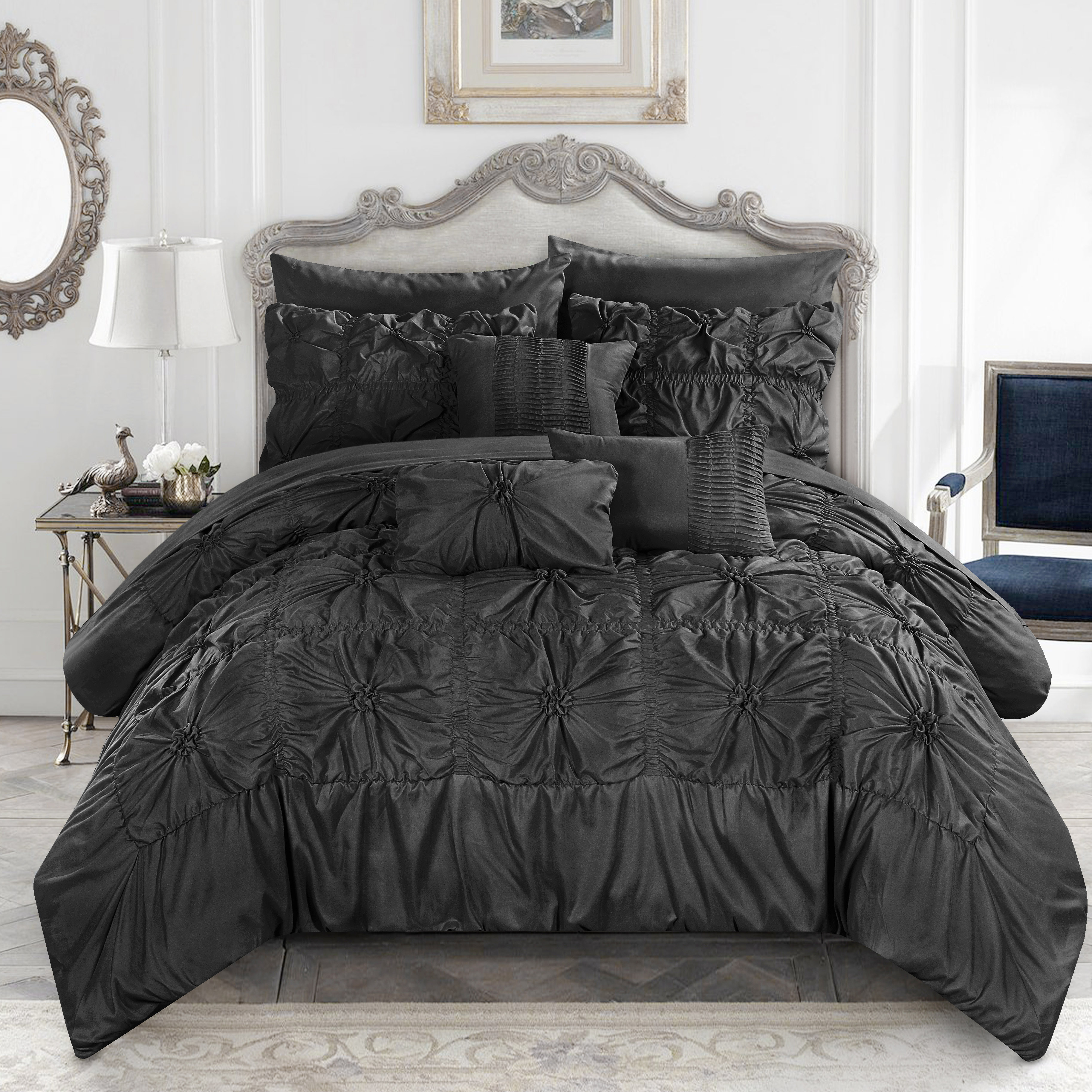 Chic Home 8-Piece Grantfield Floral Pinch Pleat Ruffled Designer Embellished Twin Bed In a Bag Comforter Set Black With sheet set