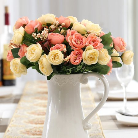 Holiday Clearance Flowers Vintage Artificial Silk Flowers Camellia Roses Bouquet Wedding Home Decoration, Pack of 1