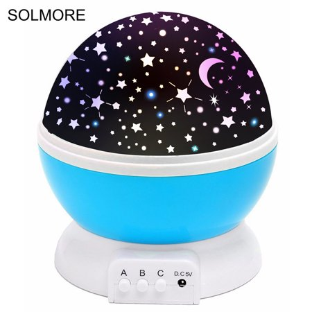 - Star Projector Lamp Christmas Decorations ,Solmore LED Night Light Star Moon Lamp Rotation Sky Projector Color Changing 360 Degree Rotating Baby Room