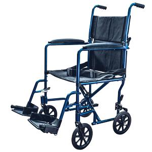 "Lightweight Aluminum Transport chair Wheelchair, Fixed Full Arms, 19"" Seat Blue"