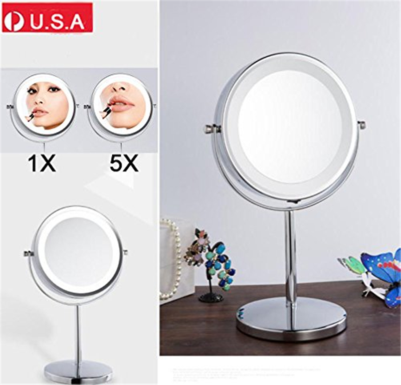 Double-Sided Cosmetic Makeup Mirror with Stand 5x Magnification LED Light Mirror