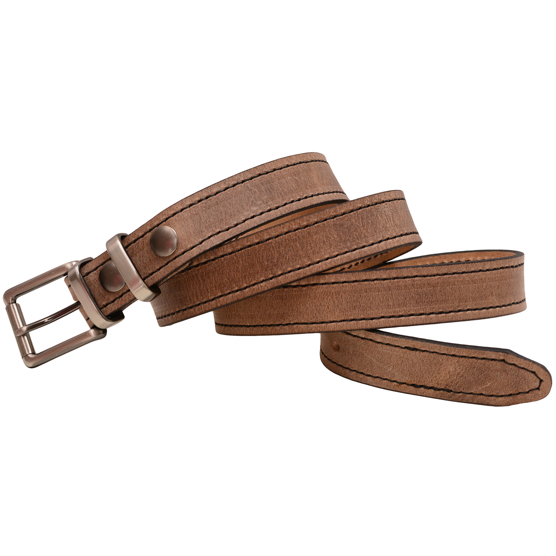 Mens 1 1//8 Dallas Milled Buffalo Leather Dress Belt Black Stitching