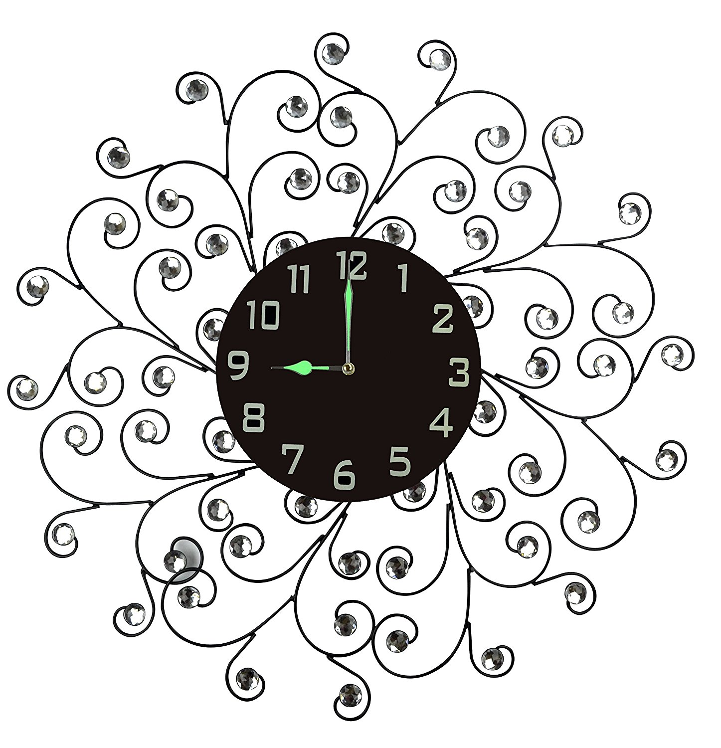 "Lulu Decor, Creeper Metal Wall Clock 25"", 9.5"" Black Glass Dial with Arabic Numbers, Decorative Night Dial Clock for Living Room, Bedroom, Office Space"