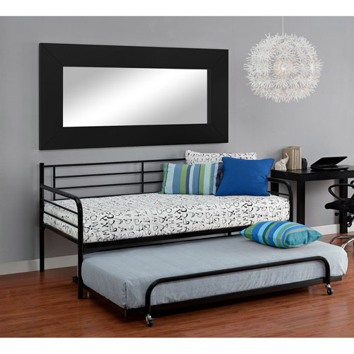 Metal Daybed with Trundle, Black
