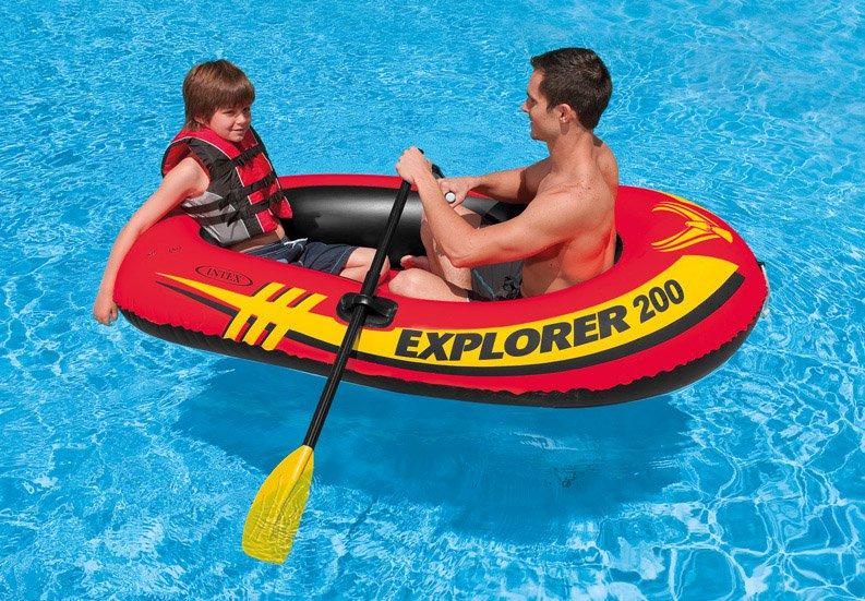 INTEX Explorer 200 Inflatable Two Person Raft Boat Set Open Box 2