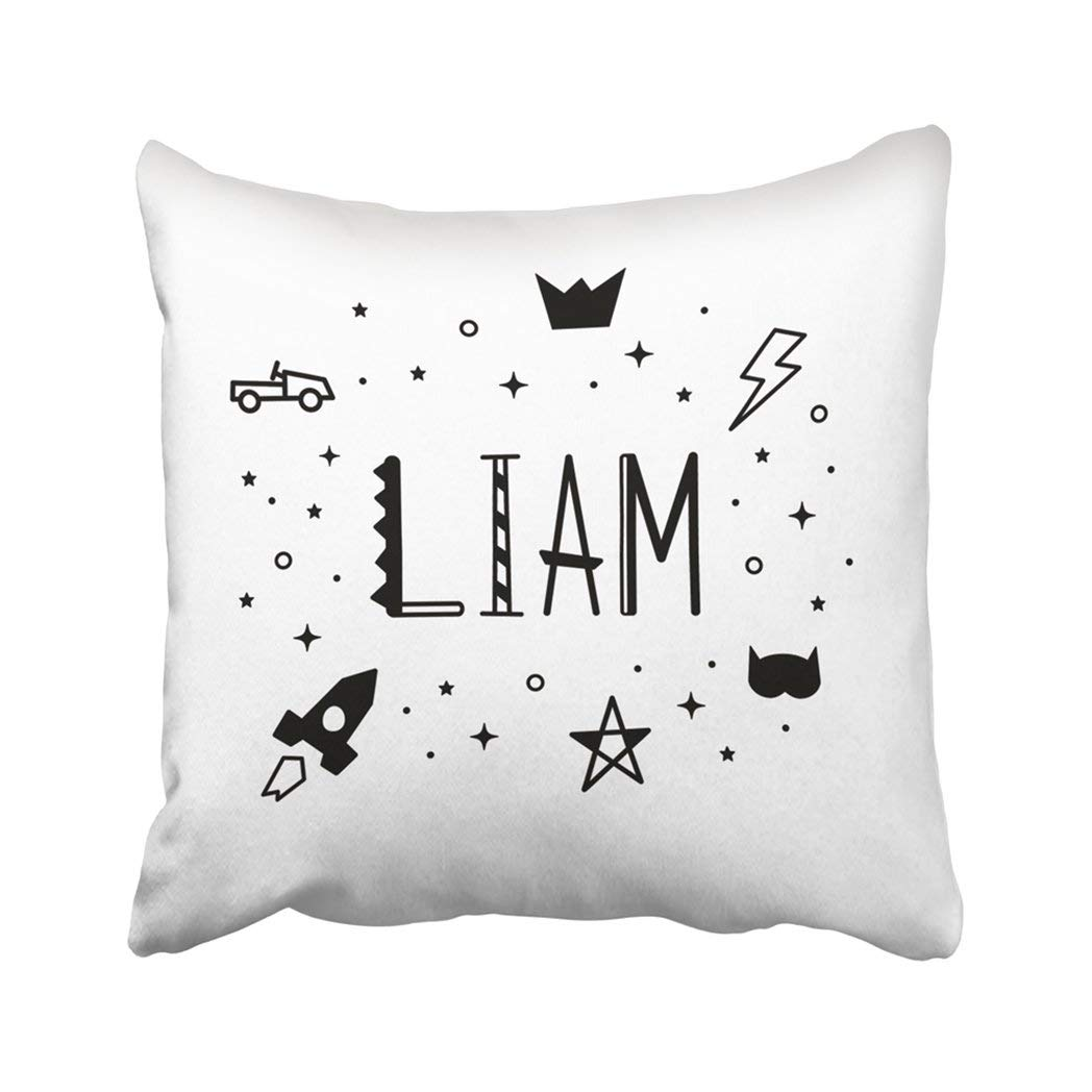 BPBOP Boys Name Liam Kids Black And White Color Cute For Baby With Lightning Stars Crown Car Pillowcase Throw Pillow Cover Case 18x18 inches