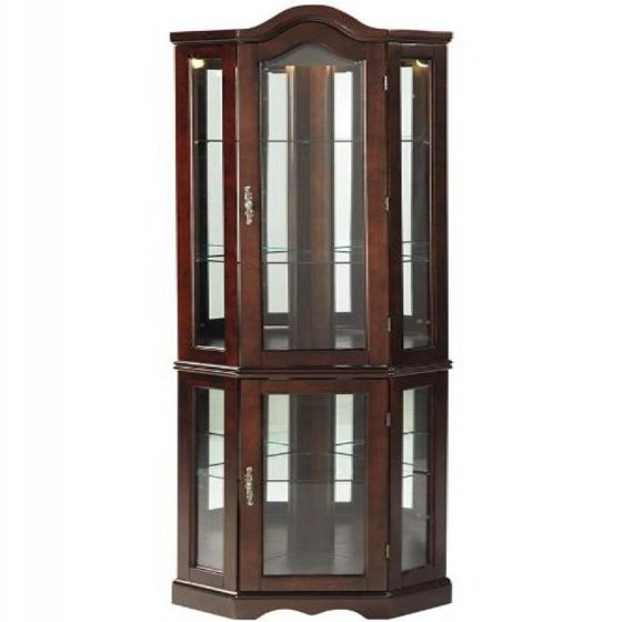 Southern Enterprises Lighted Corner Curio Cabinet, Mahogany Finish with Antique  Hardware - Southern Enterprises Lighted Corner Curio Cabinet, Mahogany Finish