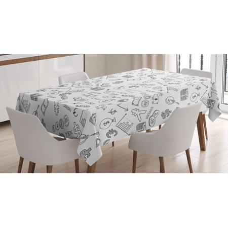 Money Tablecloth  Monochrome Pattern With Euro Dollar Yen Symbols Coins Piggy Bank Stock Graphs Doodle  Rectangular Table Cover For Dining Room Kitchen  60 X 90 Inches  Black White  By Ambesonne