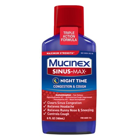 Mucinex Sinus-Max Max Strength Night Time Congestion & Cough Relief Liquid, 6oz, LIMITED TIME OFFER: Includes Voucher for Doctor On Demand Online Doctor Visit*