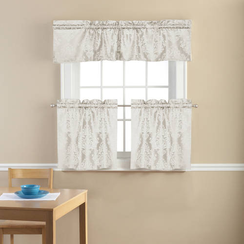 Mainstays Traditional Damask Jacquard Kitchen Curtains