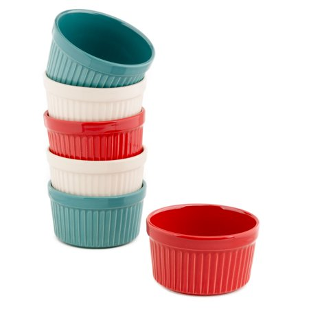 Gibson (6 Pack) 9oz Ramekins: Colorful Ceramic Porcelain Ramekin Set For Baking, Serving Bowls, Soup Bowls, 4th Of July Decorations