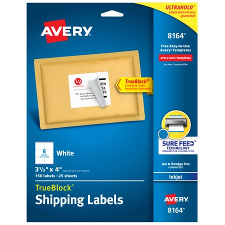 Archival Permanent Labels (Avery TrueBlock Shipping Labels, Sure Feed Technology, Permanent Adhesive, 3-1/3
