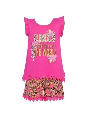 Real Love Little Girls Fuchsia Floral Animal Print 2 Pc Shorts Outfit 2T