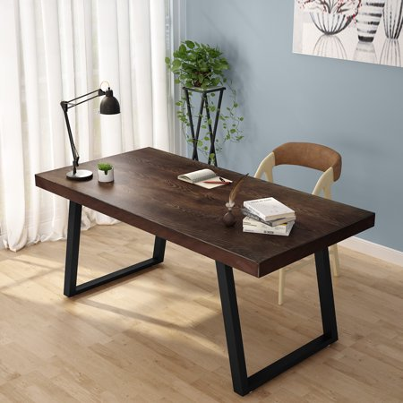 Prime Tribesigns 55 Rustic Solid Wood Computer Desk With Reclaimed Look Vintage Industrial Home Office Desk Features Heavy Duty Metal Base Works As Download Free Architecture Designs Scobabritishbridgeorg