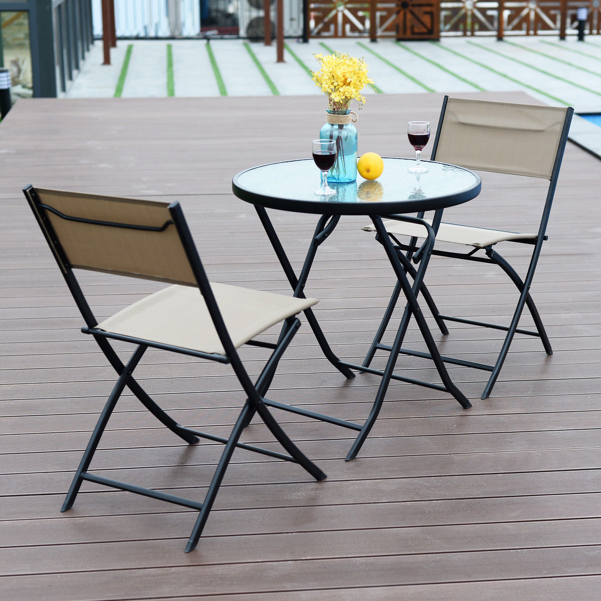 Costway Metal 3-Piece Folding Outdoor Bistro Set with Tempered Glass