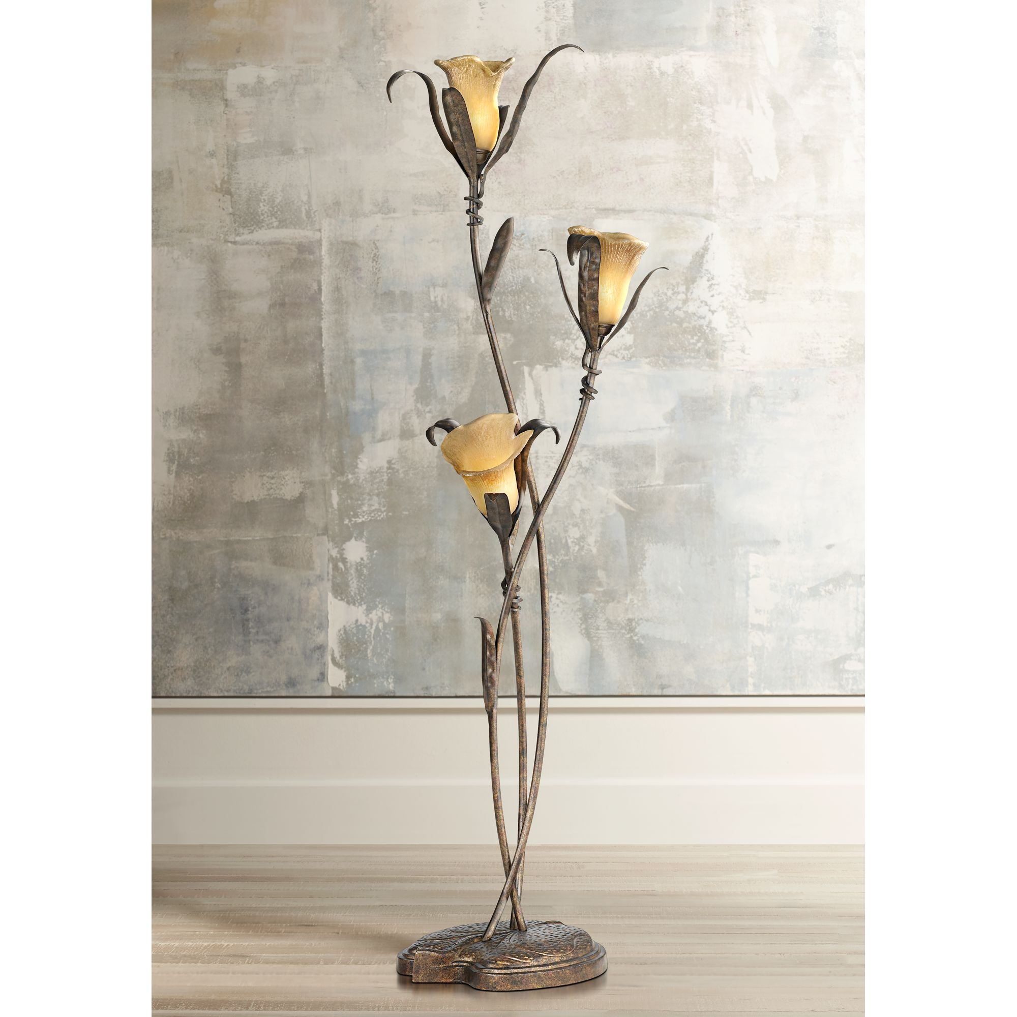 Charmant Franklin Iron Works Artistic Floor Lamp Bronze And Gold Lily Shaped Amber  Glass Flower Lights For Living Room Bedroom Uplight