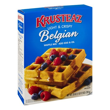 (6 Pack) Krusteaz Light & Crispy Belgian Supreme Waffle Mix, 28oz Box