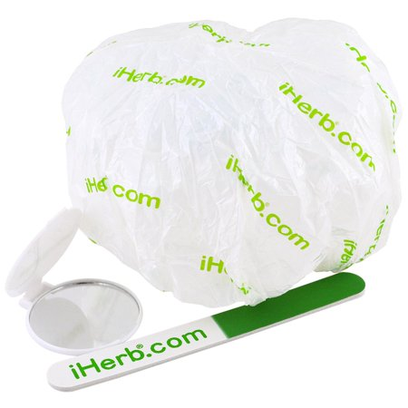 Promotional Four - iHerb Goods, Promotional Shower Cap, Mirror & Nail File Pieces(pack of 4)