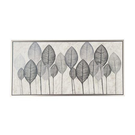Decmode Natural Fir Wood and Canvas Painted Black and White Veined Leaves Rectangular Framed Wall Art, White ()