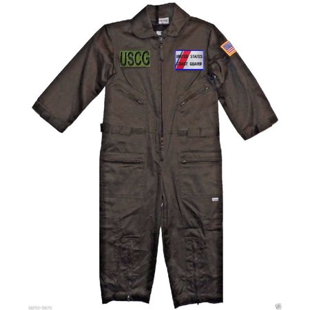 Kids United States Coast Guard Replica Flight Suit Sage Green Medium (10-12)
