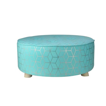 """20"""" Blue and Copper Geometric Print Cotton Canvas Round Stool - image 2 of 2"""