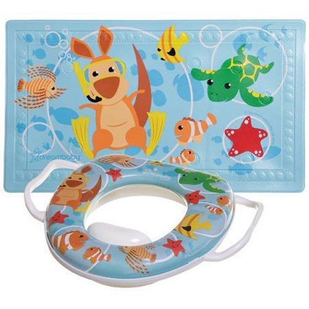 "Dreambaby Anti-Slip Bath Mat with ""Too-Hot"" Indicator and Easy-Clean Potty Seat Combo"