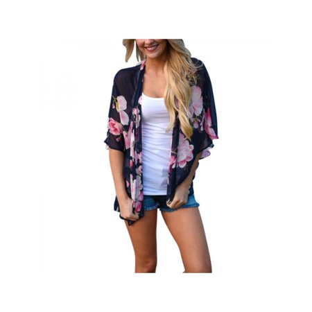 Flare Kimono - MarinaVida Women's Summer Vintage Floral Print Kimono Perspective Cardigan Chiffon Blouse Half Flare Sleeve Shirt
