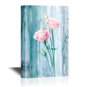 wall26 - Roses Canvas Wall Art - Pink Flowers on Vintage Blue Background - Gallery Wrap Modern Home Decor   Ready to Hang - 32x48 inches