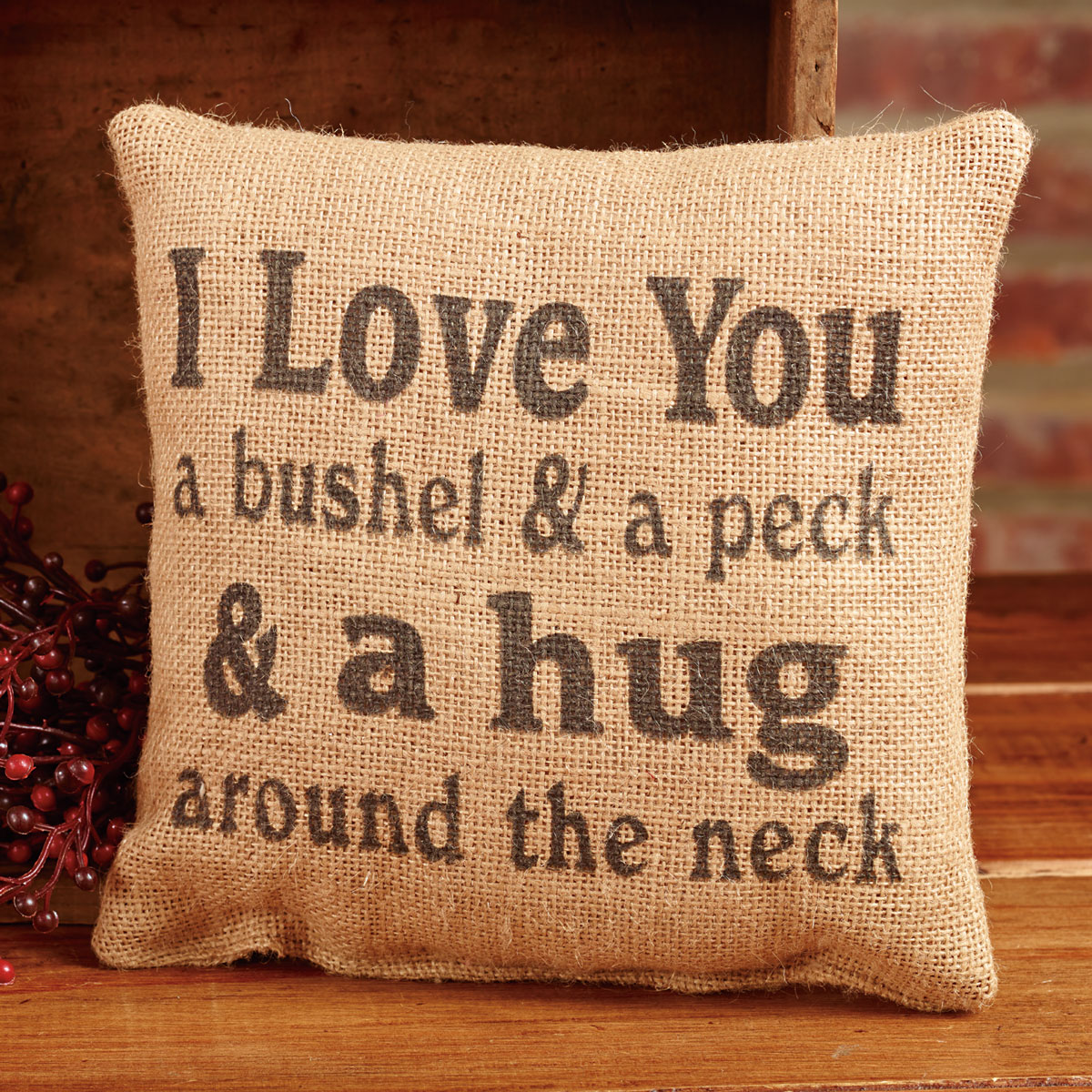 Small Burlap Bushel and Peck Country Pillow