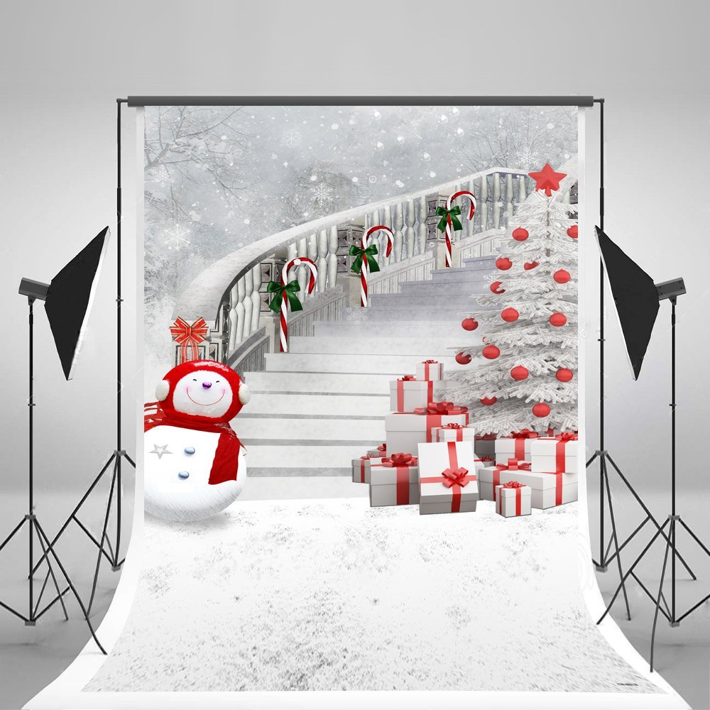 MOHome Polyster 5x7ft White Christmas Photography Backdrop Red Scarf Snowman and Christmas Tree Gift stairs Photo Backgrounds for Photographer