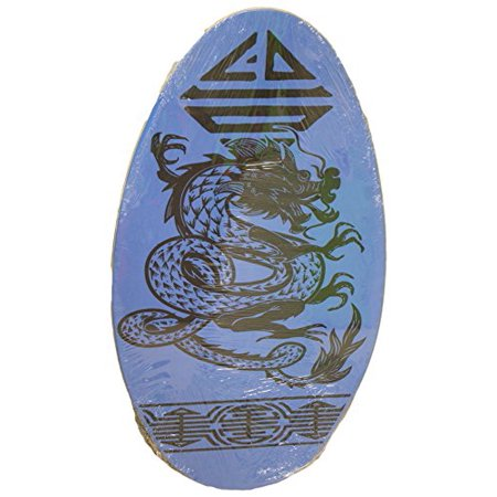 Rubber Top Wooden Skimboard With Slip Free Grip No Wax Needed Blue W Dragon 36 Inch