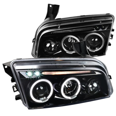 - Spec-D Tuning For 2006-2010 Dodge Charger Dual Halo Led Jet Black Projector Headlights Pair 2006 2007 2008 2009 2010
