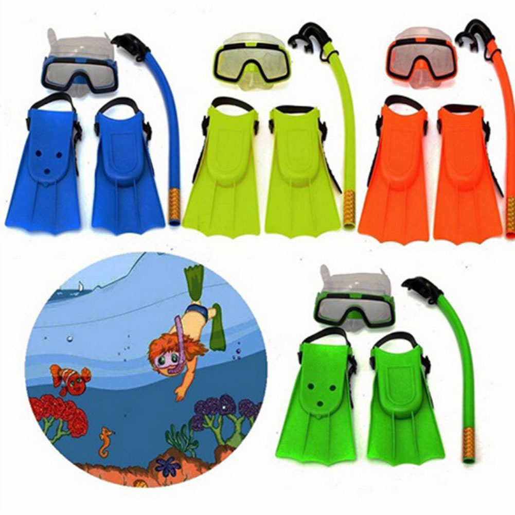 Girl12Queen Children Kids 3Pcs Swimming Diving Goggles Snorkel Masks Snorkeling Flippers Set