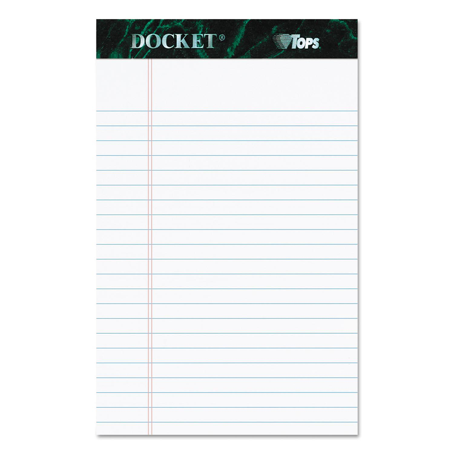 TOPS Docket Ruled Perforated Pads Legal Rule 5 x 8 White 12 50 Sheet Pads Pack