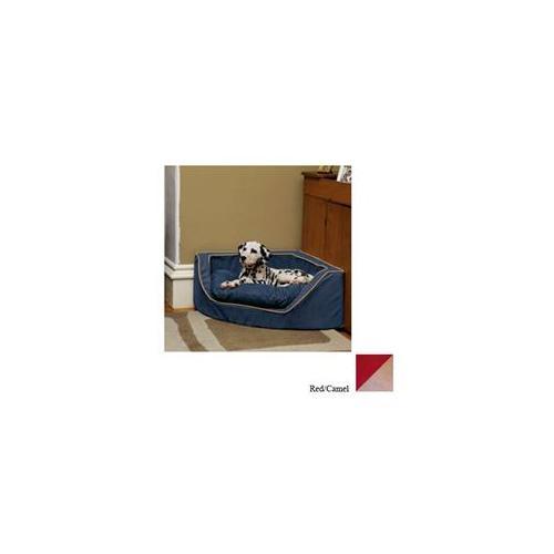 Snoozer Luxury Corner Pet Bed - Large/Red/Camel