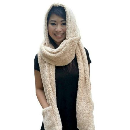AM Landen Ladies Wool Velvet Soft All In One Soft Hood Hats Scarf Gloves(Sand Beige)