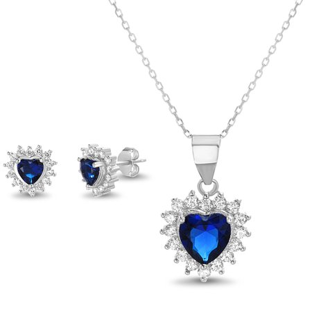 - Simulated Sapphire and Cubic Zirconia Heart Post Earring and Necklace Set in Sterling Silver