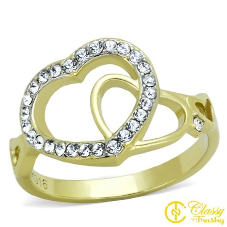 Classy Not Trashy® Women's Clear Top Grade Crystal Heart Shape Cut Out Ring - Size 8